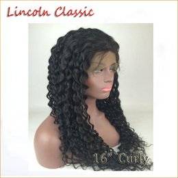 Wholesale Via Classic - Lincoln Classic Human Hair Full lace Wigs Brazilian 16inch kinky Curly Full Lace Human Hair lace front wigs with baby hair fast ship via DHL