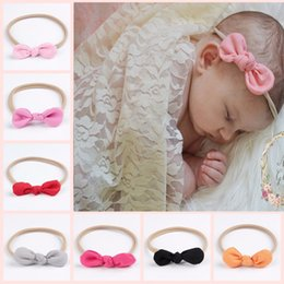 Wholesale Elastic Nylon Headbands - Baby Bow Hair Accessories Girls Rabbit Ears Nylon Headbands Infant Toddler Super Elastic Hairbands Headwear Children Photography Props