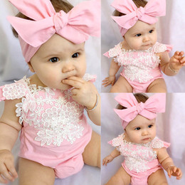 Wholesale Baby Onesies Girl Pink - Baby girl clothes Lace pink romper Infants Onesies Bodysuit with Bow headbands 2pcs set 2017 ins Baby clothing short sleeve briefs 0-2years