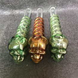 Wholesale Wa Ball - 2017 New Design Skull Ghost Headl Glass Oil Burner Pipe Straight Style Skull Ghost Head Burner with Ball Balancer 5.5 Inch Oil Rigs Glass Wa