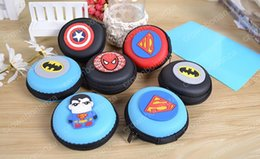 Wholesale Wholesale Boxes Purses - New Super Hero Series Fidget Spinner Boxes Round EVA Pouch Storage Bags Cases Mini Coin Purses Wallets Zipper Key Headphone Holder Bags