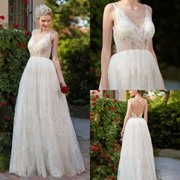 sexy long golden gown Promo Codes - Beach Golden Lace Applique Wedding Dresses Sexy Illusion Wedding Gowns Backless Plus Size Long Bridal Dress