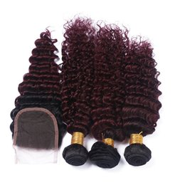 Wholesale Lace Front Weft - Deep Wave 1B 99J Wine Red Ombre 4x4 Front Lace Closure with Weaves Virgin Brazilian Burgundy Human Hair 3Bundles with Top Closure