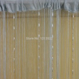 Wholesale Decorative Curtain For Doors - Wholesale- 5 Colors Romantic String Curtain With Crystal Tassel Curtain Decorative Door Screen Window Curtains Blinds for Bed Room Divider