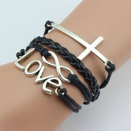 Wholesale Antique Brass Charms - Hot Selling Hand-weaving Leather Bracelet Multi Layer Charm Bracelet Antique Silver Brass Infinity Bracelets High Quality Jewelry for Lady's