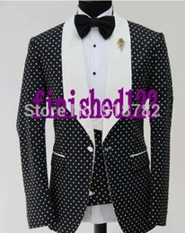 Wholesale Loose Fitting Coats - Wholesale- Latest Coat Pant Designs 2017 Custom Made Fashionable Dot Pattern Men Party Tuxedo Slim Fit Suit Groom Wedding Suits For Men
