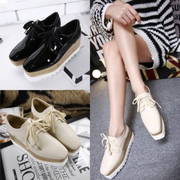 Wholesale Black White Striped Weddings - 2017 Fashion Spring Loafers Women Casual Lace up Square toe Shoes Woman Shoes Lady White black Platform flat shoes