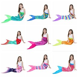 Wholesale Fleece Sleep - Kids Mermaid Tail Blankets 56*135cm Soft Warm Polar Fleece Sleeping Bags Girls Tail Throw Blanket 10 Colors 30pcs LJJO3320