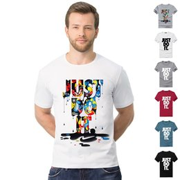 Wholesale Yellow Fashion Shirt - ZSIIBO Brand T-Shirts For Men Fashion men's t shirt Just Do It Short Sleeve O neck Tops Tees camisa masculina clothing TX133 RF