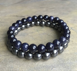 Wholesale Red Hematite - 8mm Blue Goldstone Bracelet ,8mm Hematite Bracelet,Gemstone Beads Bracelet Elastic Gemstone Bracelet,Gifts