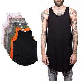 Wholesale Men Plain Black T Shirts - 2017 Summer Men's Plain Long Tank Top Sleeveless Curved hem Cotton T-Shirt Summer Sport Basketball Tees Black White Longline Vest MJG0310