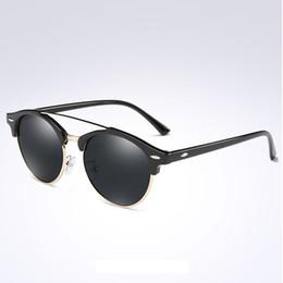Wholesale Ladies Rimless Polarized Sunglasses - New Unique polarized Sunglasses Men Women Original Designer Unisex Fashion Alloy+PC Round Sunglasses Ladies Vintage Sunglasses