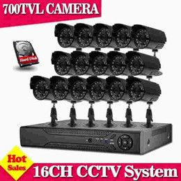 Wholesale H 264 16ch Cctv System - 16 Channel 700TVL video Surveillance security Camera system h.264 DVR Recorder 16ch CCTV dvr kit for home surveillance system