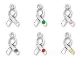 Accessoires de cancer du sein en Ligne-30pcs / lot charme de ruban de sensibilisation au cancer du sein avec cristal charme en alliage de zinc antique argent plaqué accessoire de bijoux