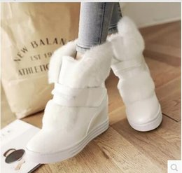 Wholesale Waterproof Wedge Winter Boots Women - warm faux fur waterproof snow boots women winter fashion ladies ankle boots big size 34-40 white beige pink color dropshipping