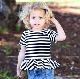 Wholesale Solid Girls Tshirts Wholesale - 2017 Girls Baby Childrens T-shirts Summer tshirts Cotton Toddler tshirts Pink Striped Tshirts Tops Boutique Bottoming shirt Clothes