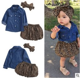 Wholesale Leopard Skirt Bow - Baby girls princess outfits toddler kids denim shirt + Leopard grain skirt + bows hair band 3pcs sets 2017 new children's day clothes T2621