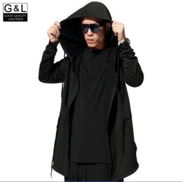 Wholesale Hoodie Chic - Wholesale- High Quality Black Chic Mens Cloak Sweater Creed Hoodie Cardigan Assassin Jacket Coat Loose Coats For Man Oversize