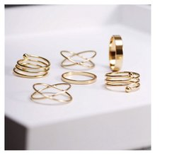 Wholesale Wholesale Midi Ring - 6pcs Gold jewelry Knuckle midi punk stackable rings for women bague ring finger ring set anel September bijoux women senhor dos aneis