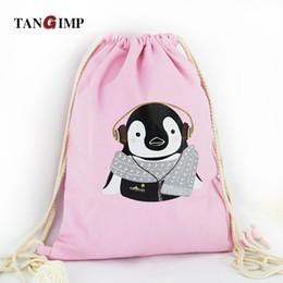 Wholesale vintage canvas backpack floral - Wholesale- 2016 New 2 in1 Bag & Drawstring Backpack Dog Cat Penguin Rabbit Travel Canvas Softback Women harajuku Vintage Bag Blue Pink