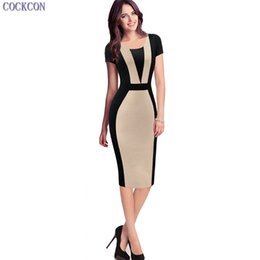Wholesale Womens Summer Wear - COCKCON New Arrived Womens Elegant Sexy O-neck Short Sleeve Pinup Patchwork Bandage Bodycon Office Dress Knee-length Pencil Dress 112