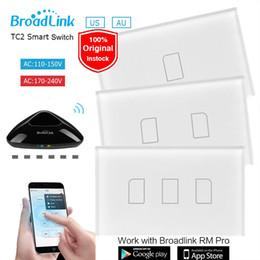 Broadlink wifi remote on-line-Atacado-Broadlink TC2 EUA / AU padrão 1 2 3 Gang WiFi Home Automation controle remoto inteligente levou interruptores de luz do painel de toque via RM Pro