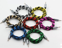 Wholesale Apple Car Audio - Car Audio AUX Extention Cable Colorful Nylon Braided 5ft 1.5M wired Auxiliary Stereo Jack 3.5mm Male Lead for Apple and Andrio Mobile Phone