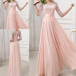 Wholesale Cheap Sexy Long - Formal Bridesmaid Dresses Sexy Chiffon Long Maids Of Honor Bridesmaids Dress With Lace Pink Champagne Royal Blue Gowns 2017 For Cheap