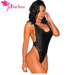 Wholesale Stylish Womens Tops - DearLover Hot Stylish Sexy Monos Cortos de Mujer Overall One-Piece Black Cross Back Studded High Cut Bodysuit Womens Top LC32036 17410