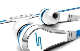 Wholesale Blue Sms Ear Headphones - Mini SMS Audio by 50 Cent Street In-Ear headphones earphones with Mic microphone Black White red With Box via