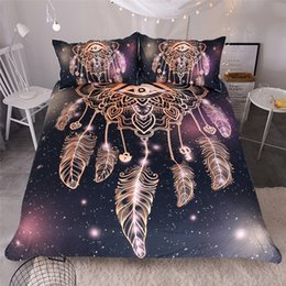 Wholesale King Size Comforters Sale - 3pcs Hot Sale Dreamcatcher Design Active Printing High Quality Home Textiles Polyester Bedding Set (Size: Twin Queen King)