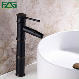 Wholesale Ceramic Art Basin - FLG Home Decoration Bath Mat Bamboo Vessel Filler Grifo Grohe Oil Rubbed Sink Faucet Cold&Hot Axe Art Basin Water Mixer Tap M005
