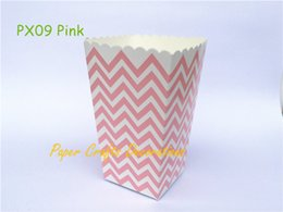Wholesale Wholesale Chevron Treat Bags - Wholesale- 12pcs lot Small Pink Chevron Party Popcorn Boxes Party Candy Treat Bags Baby Shower Favors Pop corn Wedding Birthday Supplies
