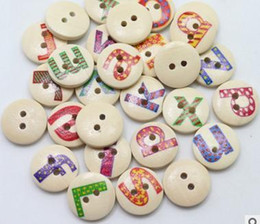 Wholesale wholesale buttons bulk - Wholesale Acces 100Pcs New 15MM Arrival Scrapbooking Bulk Wooden Painting Mixed Buttons for Children Craft English Letter Buttons