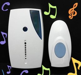 Wholesale Bell Voice - White Portable Mini LED 32 Tune Songs Musical Music Sound Voice Wireless Chime Door bell Room Gate Bell Doorbell + Remote Control 100sets