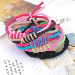 Wholesale Elastic Plastic Rope - High quality Girls hair ornaments elastic rubber band knot knot round cotton rope two-color rope rope hot FQ080 mix order 100 pieces a lot