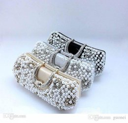 Wholesale Large Pearls Beads - Nice Hard Women Bags Pocket Small(11-21cm) Cell Phone Hasp New Women Pearl Evening Bag Clutch Gorgeous Bridal Wedding Rhinestone