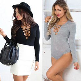 Wholesale Black Lace Top Jumpsuit - Feitong Womens Sexy Front Lace Up Tops Deep V Bandage Ribbed Cotton Lace up Leotard Bodysuit Tops Jumpsuit overalls for women