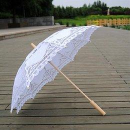 Wholesale Lace Umbrella Wholesalers - 68cm Long handle Handmade Art wedding Scallop Edge Embroidery Pure Cotton Lace Wedding Umbrella parasol Romantic Bridal photograph
