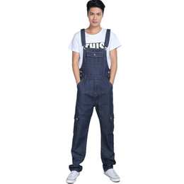 Wholesale Boys Bib Overalls - Wholesale-Men's fashion pocket denim overalls for boys Male casual loose jumpsuits Plus large size jeans Bib high quality