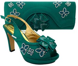 Wholesale Italian Green Party - MM1031 Green New African shoe and bag set for party Italian shoe with matching bag new design ladies matching shoe and bag