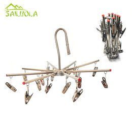 Wholesale Stainless Steel Sock Clips - 16 Clips Stainless Steel Clothes Drying Rack Hanger Socks Shorts Underwear Drying Hanger
