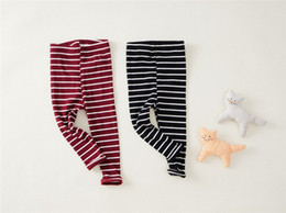 Wholesale Stripe Leggings Tight Pants - Autumn Girl Tight Leggings Candy color thread pure cotton stripe elasticity self-cultivation Pants Toddler Child Trousers for1-5t #