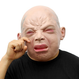 Wholesale Baby Mask Adult Halloween - Halloween Mask Party Masquerade Costume Full Face Cry Child Halloween Fancy Ball Masks for Men Adults Horror Crying Baby Kid Head Prop