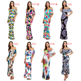 Wholesale Sell Made China - made in china apparel hot selling bodycon summer floral printed off shoulder sleeveless ankle length long dresses for mature women