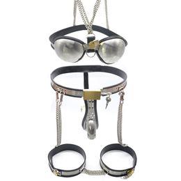 2019 nouvelles ceintures de chasteté en acier Nouveau Sexy Mens Ceinture De Chasteté Complète Dispositif Ceinture En Acier Inoxydable Bandes W / Bra # R501 nouvelles ceintures de chasteté en acier pas cher