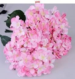 Wholesale Wholesale Fake Flower Stems - One Piece (7 stems bunch) 51CM Long European Style Silk Artificial Hydrangea Flower Fake Flower Bush For Wedding Bouquet Home Decoration