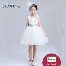 Wholesale Satin Bow Wedding Dress - toddler pageant dresses new model girl dress Flower girls dresses size girls white dress Girls Flower Formal Wedding Bridesmaid Party Dress