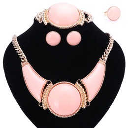 Wholesale Pink Gem Earrings - Women Party Bridal Fine African Beads Jewelry Sets For Wedding Dress Accessories Pink Resin Gem Necklace Earrings Rings Sets
