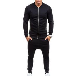 Wholesale Thin Trousers Men - Wholesale-2016 Men Casual Wear Set Fashion Trousers Sweatshirts Plus Size XXXL ropa de deporte suit black Fitness tight mens tracksuits